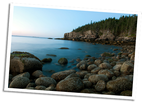 Boulder Beach overlooking Otter Cliffs, Acadia National Park, Bar Harbor, Maine